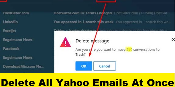 delete all emails on Yahoo